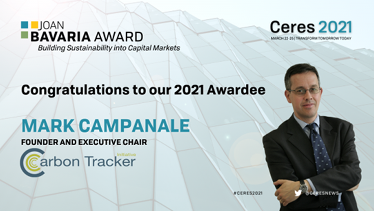 Ceres 2021 Joan Bavaria Award Mark Campanale
